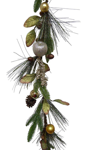 UK-Gardens 140cm 5ft Christmas Bauble Acorn Garland Christmas Decoration
