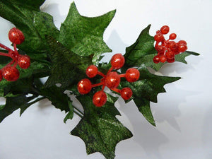 GREEN Glitter Holly Spray Bush