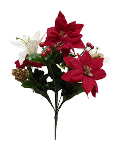 GOLD XMAS Red and White Poinsettia Bouquet