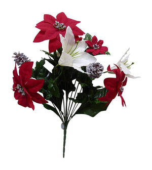 SILVER XMAS Red and White Poinsettia Bouquet