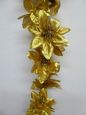 5ft GOLD Poinsettia Garland
