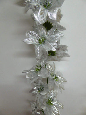 5ft SILVER Poinsettia Garland