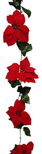 UK-Gardens 2m 7ft Christmas Artificial Poinsettia Leaf Garland - Christmas Decoration