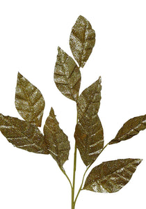 GOLD Glitter Leaf Stem