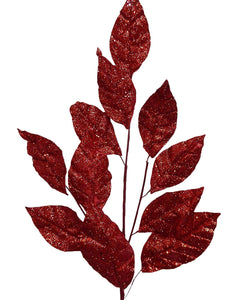 RED Glitter Leaf Stem