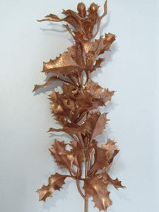 UK-Gardens 40cm Glitter Metallic Holly Stem - 4 Colours (Copper)