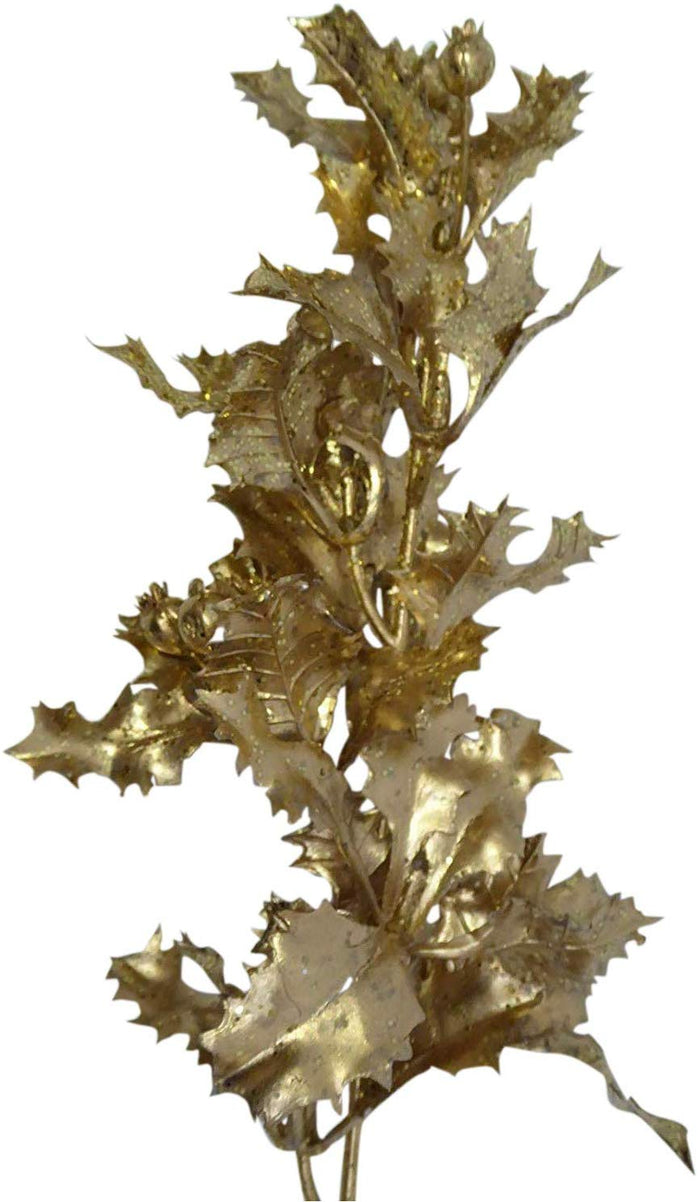 UK-Gardens 40cm Glitter Metallic Holly Stem - 4 Colours (Gold)
