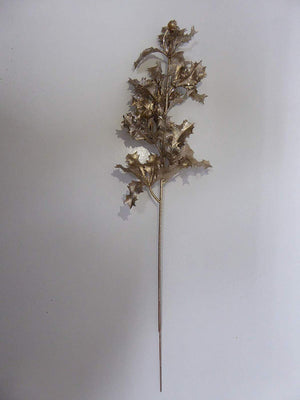 UK-Gardens 40cm Glitter Metallic Holly Stem - 4 Colours (Light Gold)