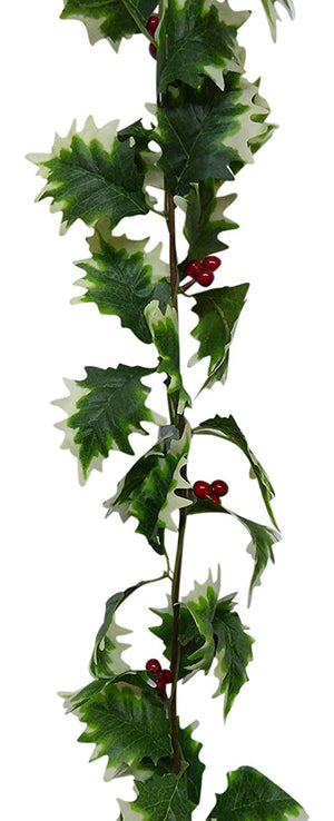 UK-Gardens 1.6m 5ft Green Holly and Red Berries Artificial Christmas Garland - 2 Colours (Variegated)