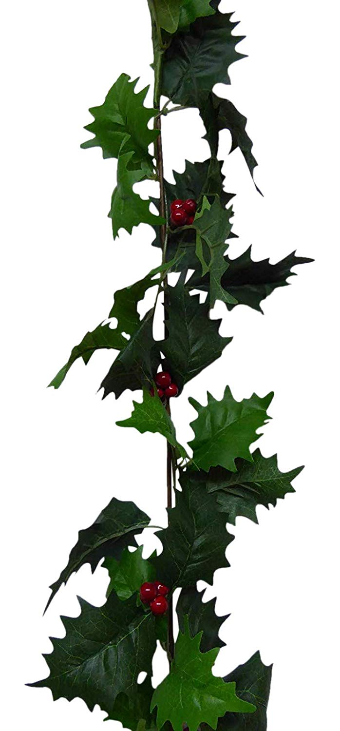 UK-Gardens 1.6m 5ft Green Holly and Red Berries Artificial Christmas Garland - 2 Colours (Green)