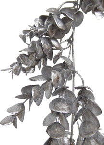 180cm 6ft Artificial Glitter Metallic Eucalyptus Garland Christmas Decoration - 4 Colours (Silver)