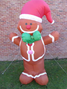 Large Inflatable Gingerbread Man Christmas Decoration 240cm Tall 4 LED Lights Outdoor