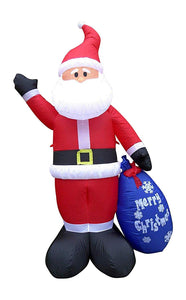 Large Inflatable Santa with Merry Christmas Present Sack Christmas Decoration 240cm Tall 4 LED Lights Outdoor Indoor Use