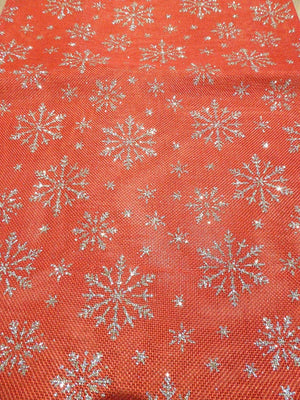 180x35cm Gold SNOWFLAKE on Red Table Runner