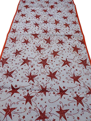 140 x 35cm RED STARS Table Runner