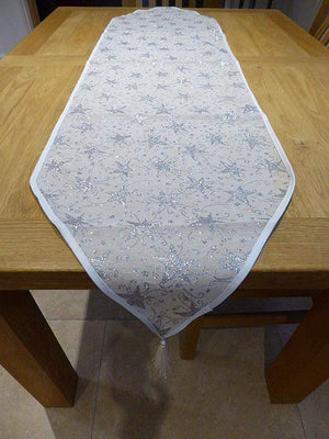 140 x 35cm SILVER STARS Table Runner