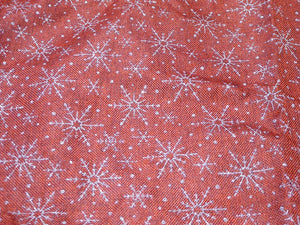 96cm Silver Glitter SNOWFLAKE on Red Tree Skirt