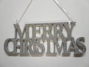 Box of 2 35cm Silver Hanging Glitter Merry Christmas Signs