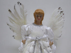 UK-Gardens 40cm Large Luxury Fairy Angel Tree Topper Christmas Decoration - 2 Colours (Silver)
