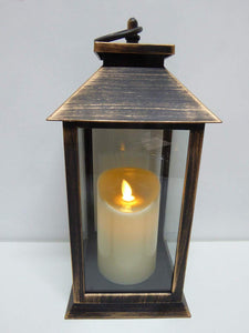 UK-Gardens 30cm Copper Bronze Lantern with Virtual Flame Battery Operated Timer - 4 Styles (Plain)