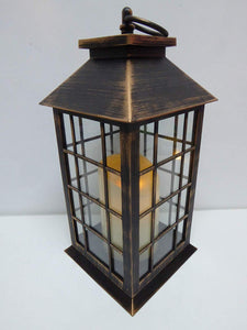 UK-Gardens 30cm Copper Bronze Lantern with Virtual Flame Battery Operated Timer - 4 Styles (Squares)
