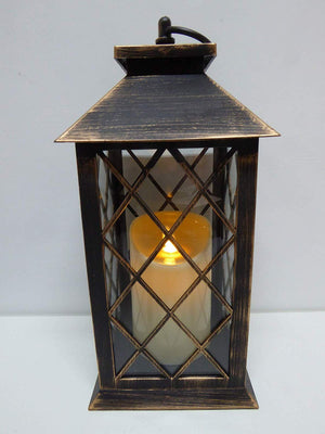 UK-Gardens 30cm Copper Bronze Lantern with Virtual Flame Battery Operated Timer - 4 Styles (Lattice)
