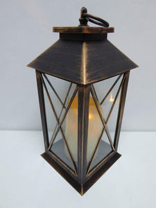 UK-Gardens 30cm Copper Bronze Lantern with Virtual Flame Battery Operated Timer - 4 Styles (Cross)