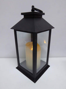 UK-Gardens 30cm Black Lantern with Virtual Flame Battery Operated Timer - 4 Styles (Plain)