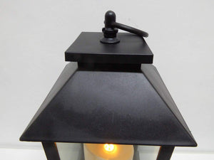 UK-Gardens 30cm Black Lantern with Virtual Flame Battery Operated Timer - 4 Styles (Squares)