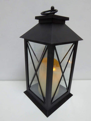 UK-Gardens 30cm Black Lantern with Virtual Flame Battery Operated Timer - 4 Styles (Cross)