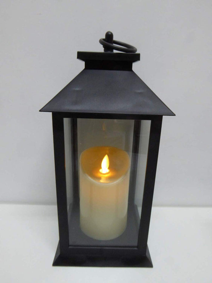 UK-Gardens 30cm Black Lantern with Virtual Flame Battery Operated Timer - 4 Styles (Lattice)