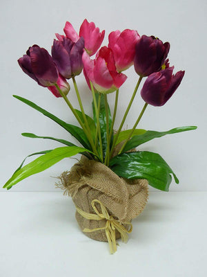 UK-Gardens - Artificial 45cm Red and Pink Tulips in a Hessian Wrap Pot