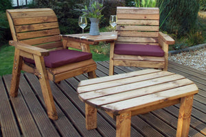 UK-Gardens Outdoor Twin Companion Dining Wood Set Angled with Burgundy Cushions