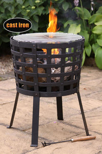 UK Gardens 45cm Big Metal Fire Basket Bowl Cast Iron and Steel