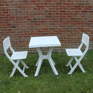 UK-Gardens White Resin 60cm Square Garden Bistro Set Patio Dining Table 2 Folding Chairs