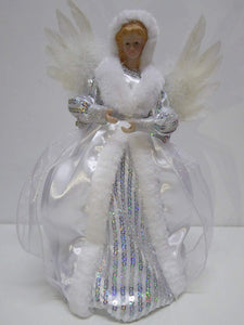 UK-Gardens 30cm Large Silver and White Fairy Angel Christmas Tree Topper Decoration