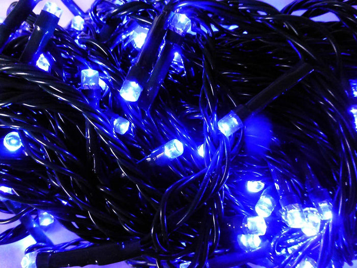 Set of 50 Blue Indoor Outdoor Battery Operated Multi Action Timer LED Christmas Tree Fairy Lights