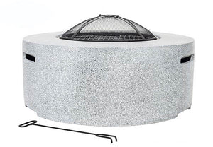 UK-Gardens Round Steel Firepit BBQ Charcoal Grill with Mesh Guard Light Grey