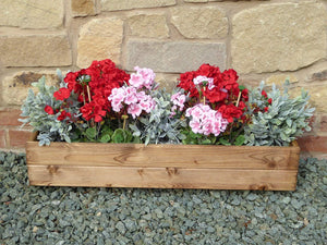 Heavy Duty Set of 3 Rectangular Wooden Window Boxes Garden Planter Troughs - 3 sizes - UK Handmade Fully Assembled