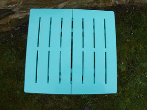 UK-Gardens Blue Resin Plastic Garden Table Lightweight Folding Outdoor Camping Side Table