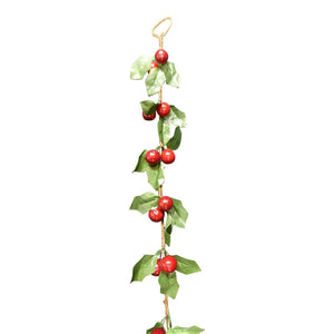 5ft 1.6m Green Holly Red Berries Artificial Garland Christmas Decoration