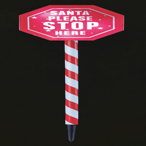 80cm Santa Please Stop Here Pathway Light LED Outdoor Xmas Decoration