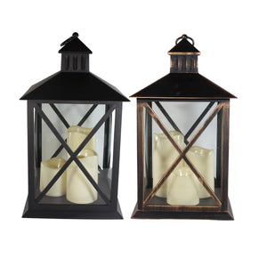 UK-Gardens Bronze 40cm Lantern With 3 Flickering LED Battery Operated Candles