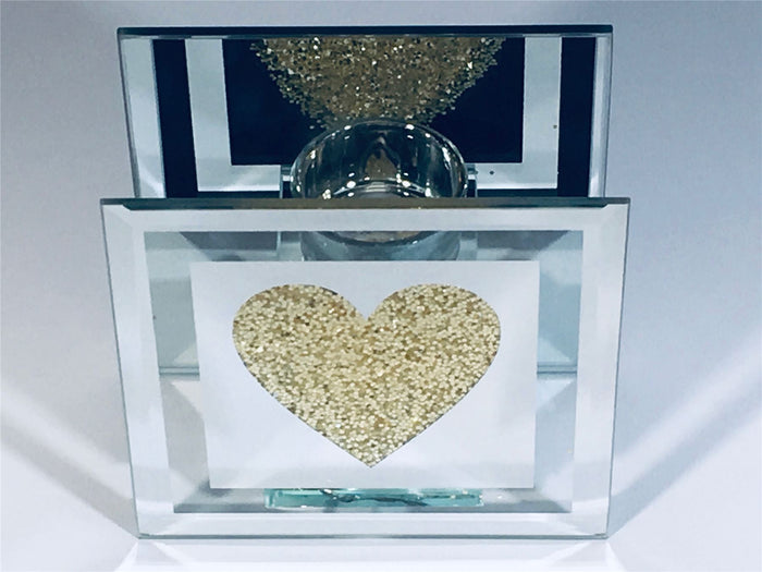 12cm Gold Glitter Heart Single Candle Holder