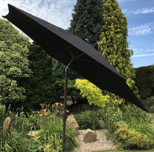 Large 2.m Black Crank And Tilt Garden Parasol Umbrella 200cm  Metal Pol0