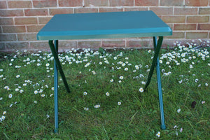 UK-Gardens Green Resin Plastic And Metal Folding Garden Table Lightweight Outdoor Camping Side Table