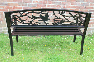 UK-Gardens Black Metal Bird Backed Bench 127x86x57cm