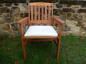 UK-Gardens Wooden Garden Dining Chair Armchair With CREAM Cushion