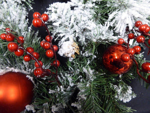 45cm Artificial Red Berry, Bauble and Cone Wreath with Snow