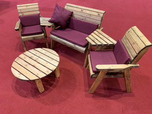 Set of 2 Armchairs with Angled Trays, Round Coffee Table, 2 Seater Bench with Burgundy Cushions | UK-Gardens.co.uk